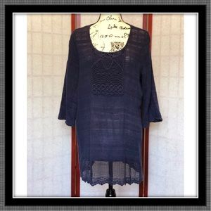 Lacy Navy Tunic Top - EUC - Size M
